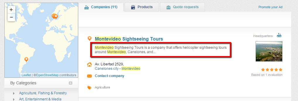 Business description in search results