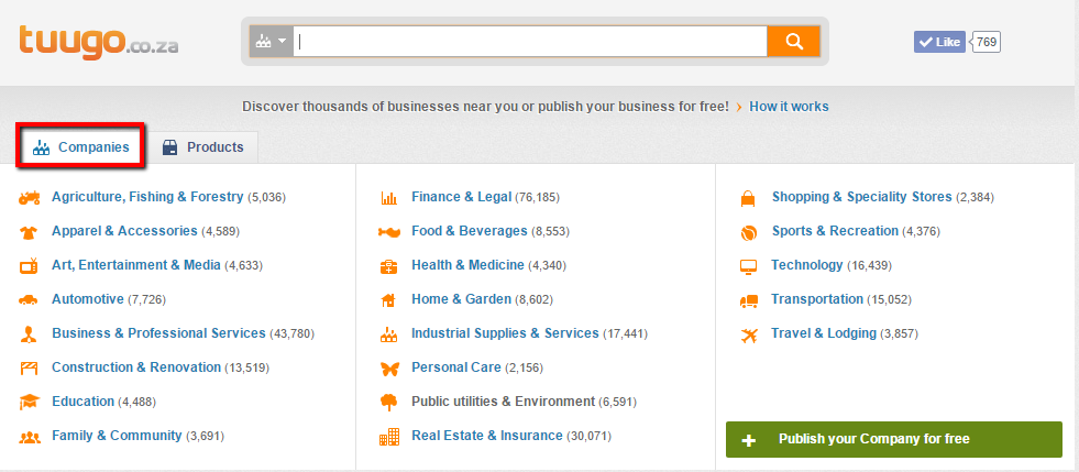 Companies tab has different categories listed below